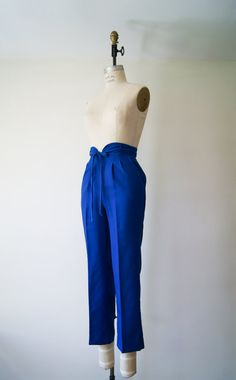 High Waist Trousers Vintage 70s Blue Pants High Waisted Cropped Pants Women's Pants Extra Small