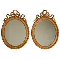 c.1860 Pair of Antique French Carved & Gilded Mirrors/Frames | From a unique collection of antique and modern wall mirrors at http://www.1stdibs.com/furniture/mirrors/wall-mirrors/
