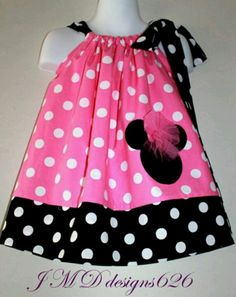 Shop Sale Pink Minnie Mouse Pillowcase Dress by Minnie Dress, Pink Minnie, Minnie Mouse, Little Girl Dresses, Girls Dresses, Sewing For Kids, My Baby Girl, Diy Clothes, Dress Patterns