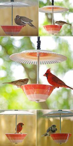 gartenideen mit alten haushaltssachen vogelfutter schale
