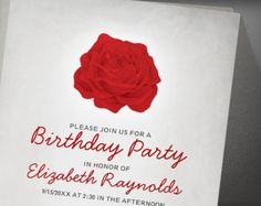 Trendy Floral Black Red Birthday Party Invitation