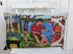 cool - pillow / cushion from recycled embroidery pieces