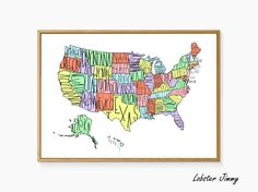 Map of USA, Printable Map of America, Instant Download, US States Map, Kids Room Map Wall Decor by LobsterJimmy on Etsy https://www.etsy.com/listing/267202429/map-of-usa-printable-map-of-america