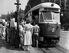 Prague by tram: with red star (Jirasek square),early Prague Cz, European Countries, Czech Republic, Vintage Images, Hungary, Black And White, Retro, Buses, Photos