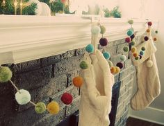 Pom Pom garland adds a fresh look to an otherwise traditional mantel, but would be fabulous wrapped around your tree, swagged down the stairs, or even across bookshelves.