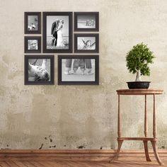 7er-Set Bilderrahmen Dunkelbraun Landhaus-Stil, shabby chic
