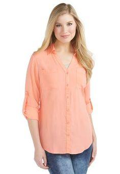 3dc57f52728e0  catosummerstyle  peach Cato Fashions Roll Tab Equipment Shirt - Plus   CatoFashions Plus Size
