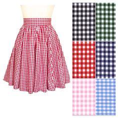 Red gingham skirt, 1950s swing skirt, twirly skirt, pink gathered skirt,knee length, black full skirt, high waisted, pin-up clothing