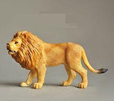 "Africa Lion Figurine Wild Animal Cast Resin 10cm 4"" long 10"