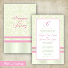 Stripes, Dots & Damask Wedding Invitation // Pink + Light Green // By Allison LeAnn Design