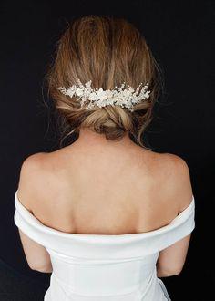 gorgeous wedding hairstyles for the elegant bride 31 < moeshouse Headpiece Wedding, Wedding Updo, Ivory Wedding, Bridal Headpieces, Wedding Hairstyles, Wedding Bells, Wedding Crowns, Graduation Hairstyles, Wedding Bride