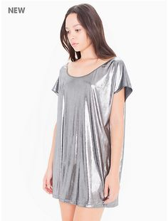 Metallic Jersey Short Sleeve Tunic