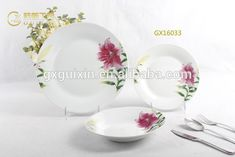 GUIXIN 16-piece Flower Design Ceramic white plate sets, red