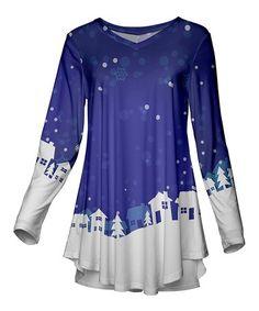 Look at this #zulilyfind! Purple & White Snowy Village V-Neck Tunic - Plus Too #zulilyfinds