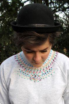 Beulah- Medium sized Handmade Embroidered Sweatshirt Jumper