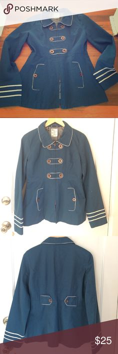 Anthropologie--Tulle jacket Adorable jacket! Excellent condition! Zip up (not buttoned) front, with adorable buttons on the back. She'll is 100% cotton, lining is 100% polyester Really cute detailing with gorgeous floral lining 😊 Anthropologie Jackets & Coats Pea Coats