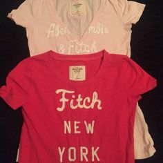(Abercrombie & Fitch) bundle of 2 tshirts Cute and in good condition. Hot pink and baby pink  (54) Abercrombie & Fitch Tops Tees - Short Sleeve