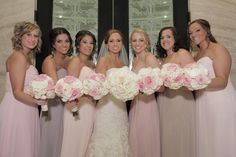 Christy and her lovely ladies rocking one of our fave styles & trends-mismatched bridesmaids in B2 style B2078. The girls got the honor of choosing between shades of pink or nude, creating an eclectic and unique contrast to the wedding party!