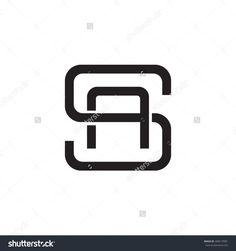 letter S and A monogram square shape logo black