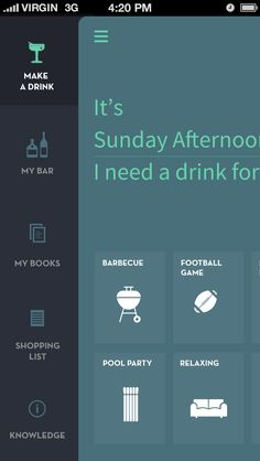 Drink-app_menufull Icon style and way to do grids of content (over color?)