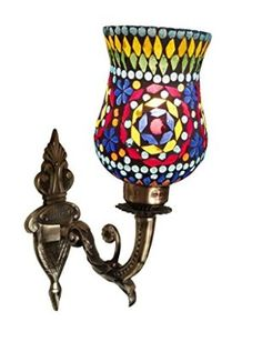 Weldecor Antiqua Brasso Diamond Cut Wall Lamp (30 cm, Multi...
