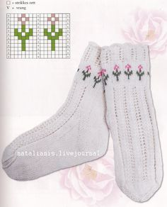 "#Knitting_Pattern -- ""Very pretty Fair Isle pattern for the tops of socks. The link doesn't have a pattern for the socks, but you can add the flowered tops to your own socks."" Enjoy from #KnittingGuru ** http://www.KnittingGuruDesigns.blogspot.com"