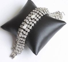 Wide Rhinestone Crystal Bracelet Baguettes Chatons Vintage #diva #wedding #rhinestones #bracelet