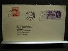 LUNDY & LONDON, ENGLAND 1960 Postal History Cover DUAL FRANKING to Bideford