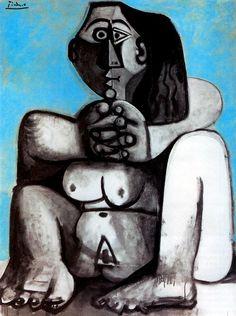 1959 Picasso Femme nue accroupie, Squatted naked woman Huile sur Toile 146x114 cm. #Cubismo #Art #XXs @deFharo