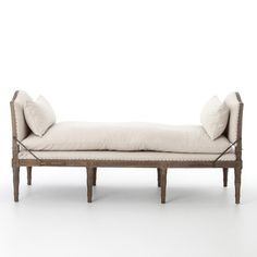 Play up a sense of French chic with a chaise featured and styled to look relaxed. Natural linen, spit tack, and iron fluer-de-lis detailing. -Dimensions: x x -Materials: Linen, Oak -Finishes: Harbor Natural, Weathered Brown Accent Furniture, Living Room Furniture, Grey Doors, Modern Bench, Weathered Oak, Oak Color, Ottoman Bench, Upholstered Bench, Burke Decor