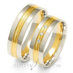 Stylowy komplet obrączek ślubnych z dwukolorowego złota próby 585 z cyrkoniami Swarovski Elements lub brylantami - szerokość 6 mm - Obrączki ślubne - GESELLE Jubiler