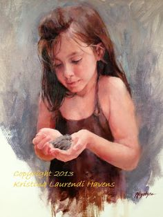 Oil Portrait on Linen of my daughter Arianna holding a baby bird, by Kristina Laurendi Havens