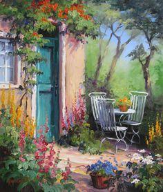 Romantische Gartenterrasse mit grüner Tür und Tisch mit Stühlen. Rosa Malven und Gold Felberich stehen in der Sonne, das Lichtspiel der Schatten zeigt sich auf den Baumstämmen | Ein Original Gemälde von Ute Herrmann #garten #fineart # landscapeart