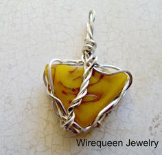 Wire Wrap Amber Pendant in SS Triad by WirequeenJewelry on Etsy, $45.00