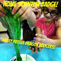 DIY kids science experiment green goop-good for Girl Scout Brownie Home Scientist Brownie Badge - Education and lifestyle Harry Potter Dragon, Harry Potter Girl, Girl Scout Leader, Girl Scout Troop, Cub Scouts, Science Experiments Kids, Science For Kids, Science Diy, Brownie Badges