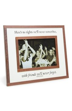 "Free shipping and returns on Ben's Garden 'Here's to Nights' Picture Frame (9x7) at Nordstrom.com. An antiqued-copper frame perfect for displaying favorite photos is embellished with the whimsical, nostalgic saying ""Here's to nights we'll never remember, with friends we'll never forget."""