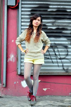 Heart Stockings and Fuzzy Sweaters #patternedtights #fashionblogger