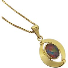 Original Retro 9ct gold opal pendant and necklace, circa 1960's