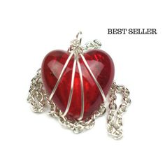 Wire Wrapped Red Heart Necklace with Silver Chain // Girlfriend Gift // Mom Gift // Best Seller // Sentimental Wholesale Jewelry Valentines Jewelry, Valentines Gifts For Her, Gifts For Teens, Gifts For Wife, Heart Jewelry, Heart Pendant Necklace, Wholesale Jewelry, Glass Pendants, Girlfriend Gift
