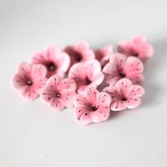 Cherry Blossom Beads Polymer Clay Beads Light Pink by tooaquarius