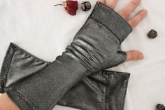 Silver gray gloves Gray arm warmers Gothic by Nazcolleccolors