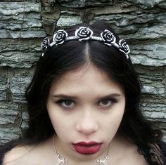 Rose Crown - Flower Crown - Ren Faire - Silver Headband - Bridal Jewelry - Handfasting - Queen Costume - Gothic Crown - Lolita Fashion