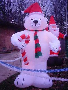 8 foot tall inflatable polar bear gemmy polar bear halloween christmas christmas - Polar Bear Inflatable Christmas Decorations