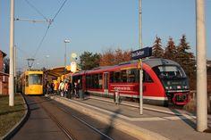 Gera - GVB/Linie 2 - an der Hst. Bahnhof Zwötzen wartet 206 auf den Anschlußbus der Linie 16 aus Liebschwitz, gegenüber steht am Bst. des Hp Gera-Zwötzen 642 564/064 als RB16475 nach Zeulenroda. (08.11.2011)