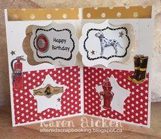 Karen Aicken using the Pop it Ups Katie Label Pivot Card by Karen Burniston for Elizabeth Craft Designs. - Firetruck Birthday Pivot Card