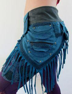 Blue Pixie Wrap Pocket Belt by KhushiClothes on Etsy, £25.00  Elf, Psytrance, Goa, Rave, Pixie, Utility Belt, Crochet