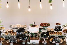 Mesa de doces, casamento industrial