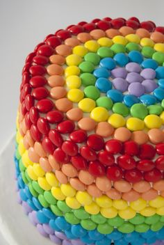 Rainbow cake made out of m and m's