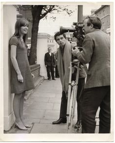 """iheartfrancoise: """" Françoise Hardy and Jean-Marie Périer """" Françoise Hardy, Nicolas Ghesquiere, Anna Karina, Sweaters And Jeans, Boyish, Female Singers, Music Bands, Film, Her Style"""