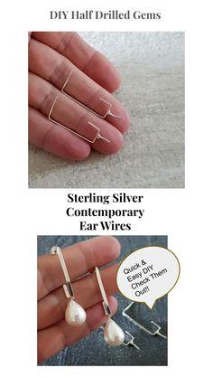 Bright Silver 925 Ear Hooks/Wires, Designer Handmade For Half Drilled Gems Handmade Jewelry Findings, Unique Jewelry, Jewelry Making Supplies, Handmade Silver, Hooks, Gems, Sterling Silver, Peace, Elegant